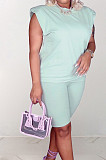 Light Blue Casual Pure Color Sleeveless Shoulder pads T Shirt Shorts Sets CM2142-3