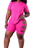 Rose Red Fashion Casual Personality T-Shirt Shorts Two Piece SY8818-4