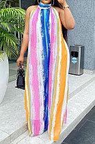 Euramerican Women Halter Neck Backless Loose Printing Long Dress KKY8034