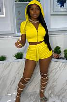 Yellow Euramerican Pure Color Hoodie T Shirt Shorts Two Piece X9301-3