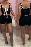 Black Fashion Pure Color Vest Hollow Out Bind Shorts Two Piece LL6328-1