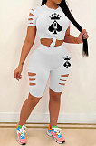 White Hurnt Flower Printing Casual Sport Shorts Sets PY803-4