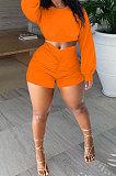 Orange Women Shirred Detail Autumn Winter Sport Casual Shorts Sets NK253-4