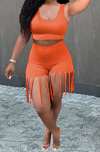 Orange Women Vest Tassel Shorts Casual Plus Shorts Sets KKY80045-1