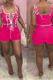 Rose Red Fashion Pure Color Vest Hollow Out Bind Shorts Two Piece LL6328-2