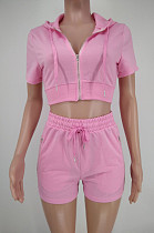 Pink Euramerican Pure Color Hoodie T Shirt Shorts Two Piece X9301-2