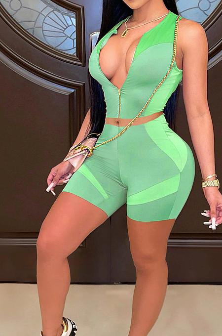 Green Euramerican Casual Vest Shorts Sports Sets LL6325-7