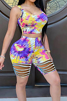 Yellow Fashion Casual Tie Dye Hurnt Flower Vest Shorts Two Piece LL6330-1
