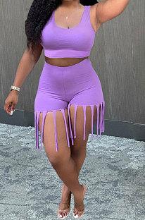 Purple Women Vest Tassel Shorts Casual Plus Shorts Sets KKY80045-2