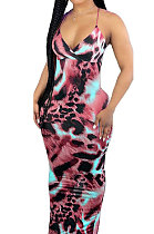 Red Condole Belt V Neck Sleeveless Fashion Sexy Long Dress DY6969-2