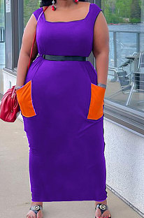 Purple Women Sleeveless Spliced Pocket Plus Long Dress KKY80046-1