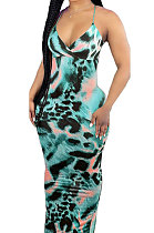 Cyan Condole Belt V Neck Sleeveless Fashion Sexy Long Dress DY6969-3