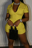 Yellow Casual Fashion Zipper Pure Color Short Sleeve Romper Shorts SY8816-2