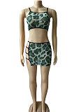 Cyan Green Sexy Printing Condole Belt Sleeveless Personality Net Yarn Skirts Sets CYC7015-1