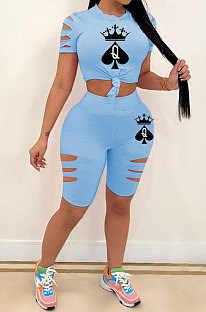 Blue Hurnt Flower Printing Casual Sport Shorts Sets PY803-1
