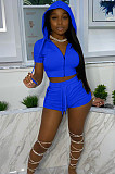 Blue Euramerican Pure Color Hoodie T Shirt Shorts Two Piece X9301-7