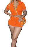 Orange Euramerican Pure Color Hoodie T Shirt Shorts Two Piece X9301-1