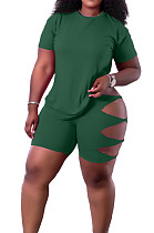 Green Fashion Casual Personality T-Shirt Shorts Two Piece SY8818-6