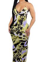 Yellow Condole Belt V Neck Sleeveless Fashion Sexy Long Dress DY6969-1