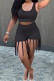 Black Women Vest Tassel Shorts Casual Plus Shorts Sets KKY80045-3