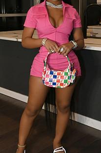 Pink Khaki Casual Fashion Zipper Pure Color Short Sleeve Romper Shorts SY8816-6