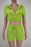 Green Euramerican Pure Color Hoodie T Shirt Shorts Two Piece X9301-8