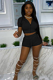 Black Euramerican Pure Color Hoodie T Shirt Shorts Two Piece X9301-6