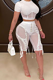 Sexy High-Waist Half Pants Mesh Perspective Shorts LE1035