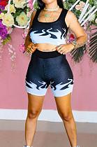 Royal Blue Euramerican Fashion Flame Print Vest Shorts Two Piece LSZ91162-2
