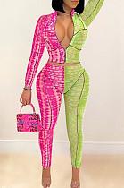 Pink Print Spliced Zipper Fashion Casual Two Piece LSZ9041