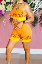 Orange Yellow Euramerican Fashion Flame Print Vest Shorts Two Piece LSZ91162-3