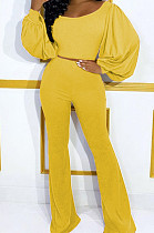 Yellow Pit Bar U Neck Lantern Sleeve Flare Pant Two Piece LSZ9048-1