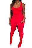 Red Women Sexy Vest Long Pants Waist Line Pure Color Pants Sets  SFM0272-4