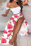 White Flower Summer Sexy Bohemia Print Boob Tube Top Long Skirts Two Piece SFM0232-8