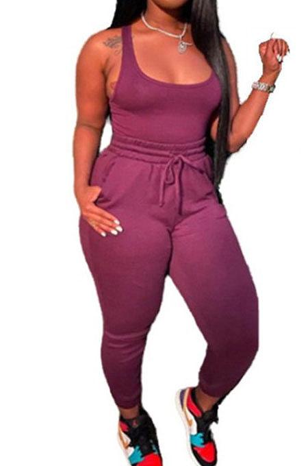 Purple Women Sexy Vest Long Pants Waist Line Pure Color Pants Sets  SFM0272-5