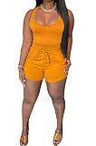 Yellow Sexy Vest Shorts Stakerope Casual Shorts Sets SFM0274-3