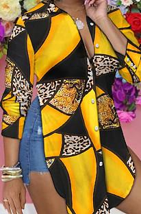 Black Yellow Personality Long Sleeve Print Shirts SRX6318-9