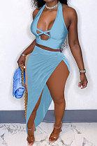 Light Blue Euramerican Women Pure Color Sexy Halter Neck Hollow Out Skirts Sets QMQ7049-3