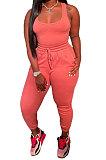 Pink Women Sexy Vest Long Pants Waist Line Pure Color Pants Sets  SFM0272-2