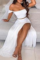 White  Summer Sexy Bohemia Print Boob Tube Top Long Skirts Two Piece SFM0232-4