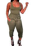 Army Green Women Sexy Vest Long Pants Waist Line Pure Color Pants Sets  SFM0272-7