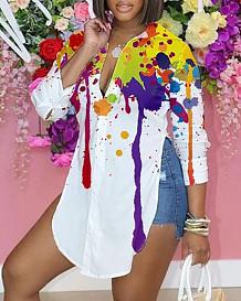 Print Splash-Ink Personality Long Sleeve Print Shirts SRX6318-7