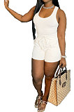 White Sexy Vest Shorts Stakerope Casual Shorts Sets SFM0274-1