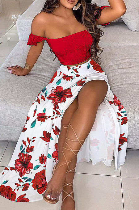 Red Flower Summer Sexy Bohemia Print Boob Tube Top Long Skirts Two Piece SFM0232-1
