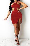 Red Pure Color Sexy Halter Neck Hollow Out Chest Wrap Tight Mini Dress YBS6705-1