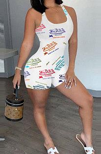 Casual Women Trendy Printing Vest Romper Shorts YFS10002