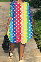 Loose Rainbow Printed Stripe Long Sleeved Dress With Pockets BLX7329