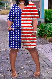 Casual Trendy Flag Pattern Romper Shorts HHB4033
