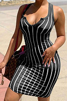 Black Women Stripe Printing Deep V Neck Fashion Cultivate One's Morality Mini Dress YBS6700-3