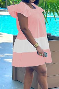 Pink&White Fashion Causal Spliced Lotus Leaf Sleeve Loose Dress SM9187-2